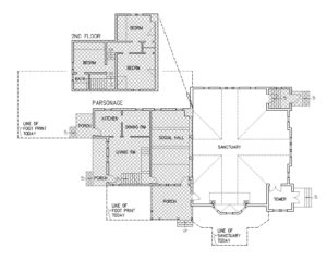 floor plan showing parsonage addition to church