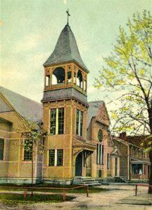 Grace Lutheran Church undated postcard showing original tower