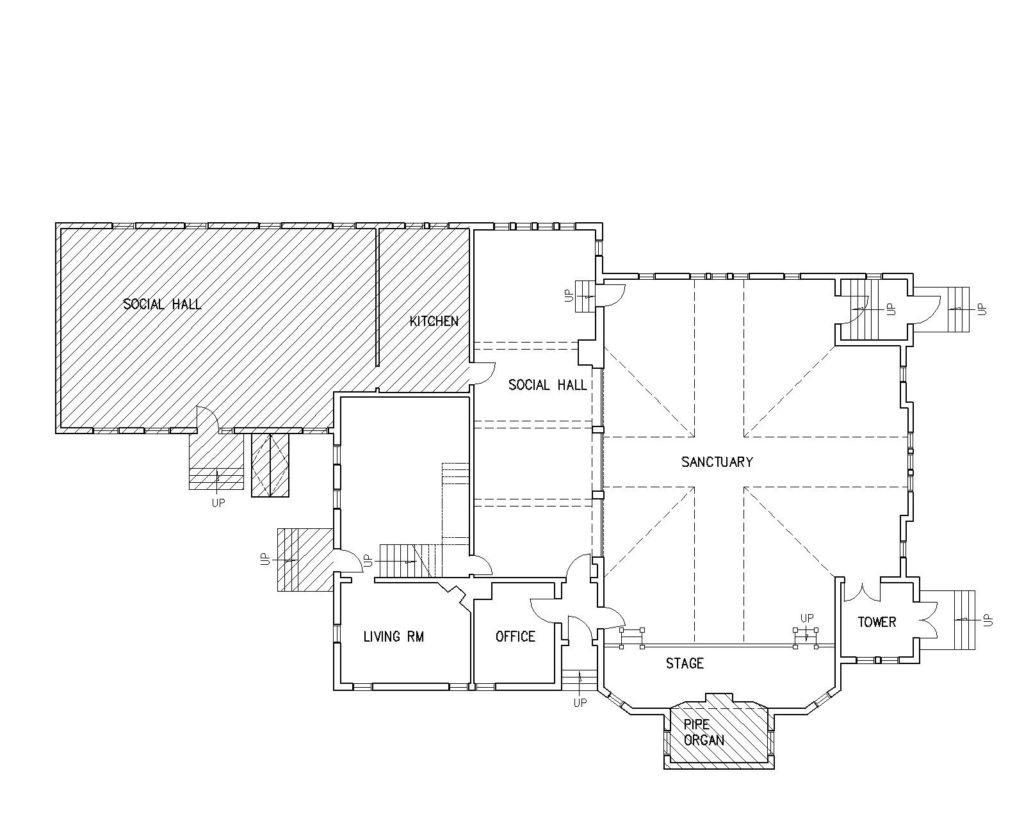 floorplan showing location of pipe organ and large social hall